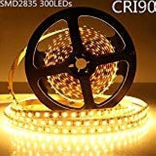 LightingWill LED Strip Lights CRI90 SMD2835 300LEDs 16.4Ft/5M Ultra Warm White 2700K-3000K DC12V 60W 60LEDs/M 12W/M 8mm Wh...
