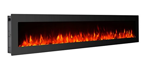 GMHome 60 Inches Electric Fireplace Wall Mounted Freestanding Heater Crystal Stone Flame Effect 9 Changeable Color Fireplace, with Remote, 1500W - Glass Panel, Black black electric Fireplace