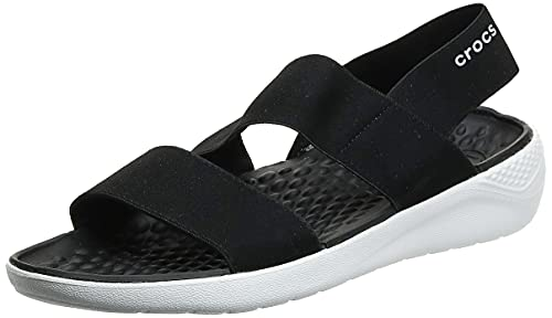 Crocs Damen Literide Stretch Women Sandalen, Schwarz (Black/White 066), 37/38 EU