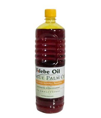 100% Pure Natural Red Palm Oil. 1L. No Cholesterol Cooking Oil with Vitamin E. Cruelty-Free Palm Oil rich in anti-oxidants. Folebe Oil. Cameroon Palm Oil.