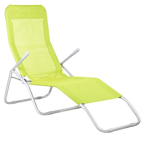 Springos Gravity Tumbona de metal, plegable, para el tiempo libre, 3 posibilidades de ajuste, verde claro