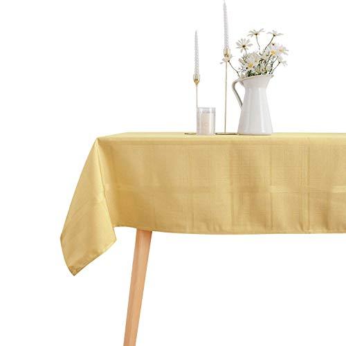VEEYOO Mantel Rectángulo de Poliéster Mantel de Tela Escocesa de Rayas Suaves Mantel a Prueba de Derrames y Arrugas Mantel a Cuadros para Boda y Restaurante (Oro, 152x213 cm)