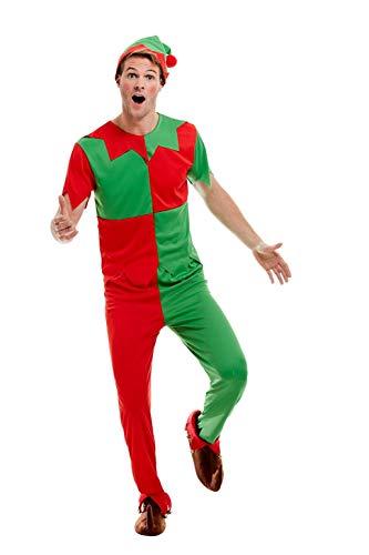 SMIFFYS 51025M - Costume da elfo, da uomo, verde e rosso, taglia M, 96,5-101,6 cm
