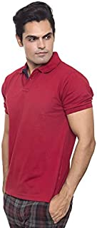 Santhome Cotton Polo Shirt for Men - Navy Blue/Red