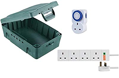 Masterplug IP54 Weatherproof Electric Box with 4 Socket 8m Extension Lead and 24 Hour Timer