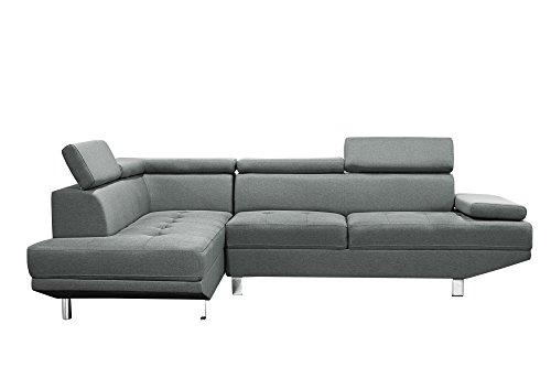 Canapé d'angle 5 places Gris Tissu Design