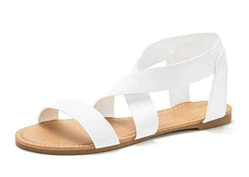 DREAM PAIRS Sandals for Women Elatica-6 White Elastic Ankle Strap Flat Sandals - 11 M US