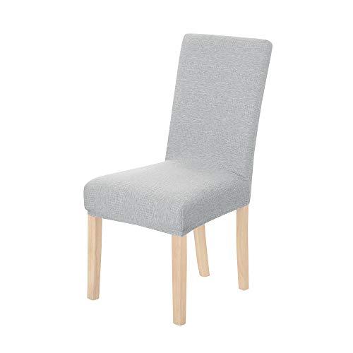 Amazon Brand – Umi Fundas para sillas de Comedor elásticas Suave diseño Ondas Gris Claro(Juego de 2)