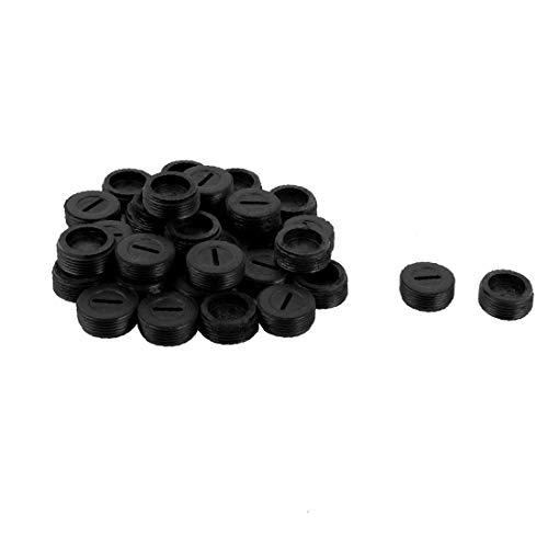 X-DREE Tappo di ricambio in plastica a forma di tondo per motore in carbonio con cappuccio 16mm 2 set nero(Tapa de repuesto para portaescobillas de carbono de motor redondo de plástico de 16 mm 2 jueg