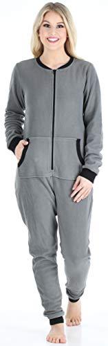 Sleepyheads Onesie, Einteiliger Schlafanzug für Damen aus Fleece ohne Fuß, bunter Einteiler, Overall, Grau mit Schwarz - 4