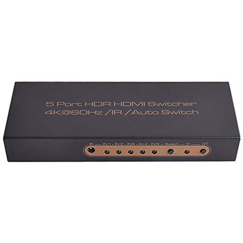 Suading Conmutador de Sincronización Cec Inteligente de 5 Puertos 4K 60Hz 18 Gbps 5X1 Conmutador Adaptador HDR con IR Romote para HDTV Ps4 Enchufe de la UE