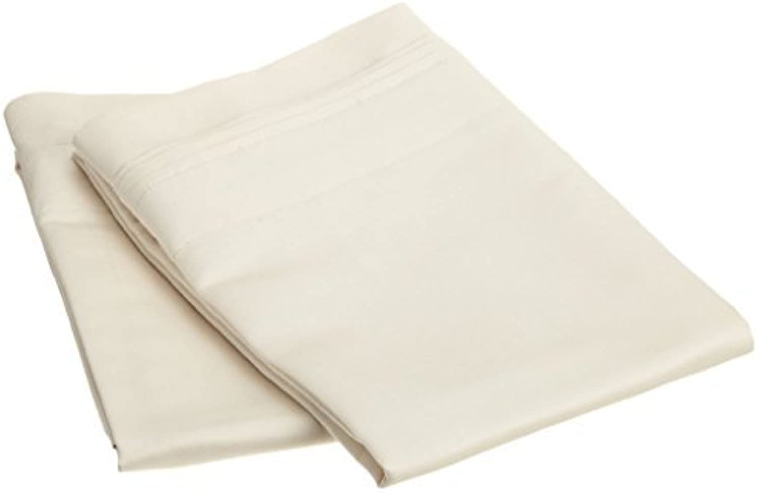 100% Cotton Pillowcases Set of 2, Soft and Cozy, Wrinkle, Fade, Stain Resistant, 20 x 40 , Ivory Solid
