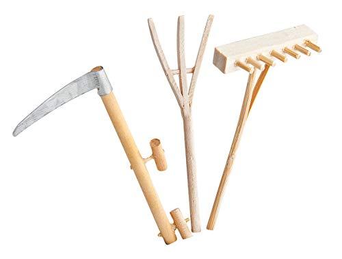 Outils de jardin en bois, set de 3