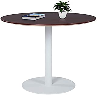 Sunon Round Conference Table,Small Dining Table with White Pedestal Base (39.3 x 29.5 inch Height, Mahogany)