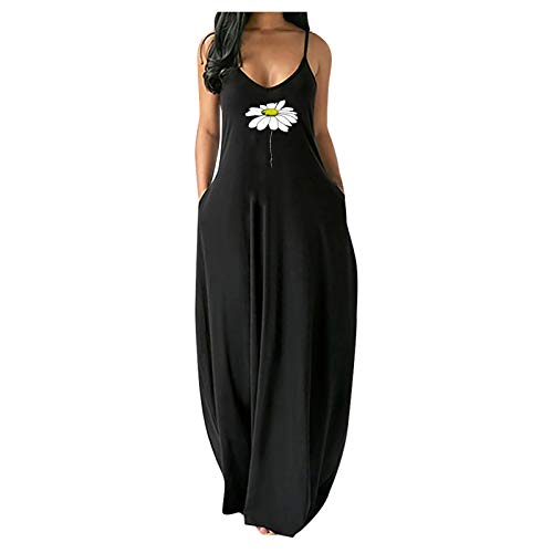 CANTOB Summer Dresses for Women Sleeveless V Neck Maxi Dress Casual Sundress Beach Dress(White,L)