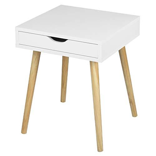 WOLTU Nachttisch Beistelltisch Nachtschrank Nachtkommode mit Schublade und 4 Holzbeine aus Spanplatte Weiß TS110ws