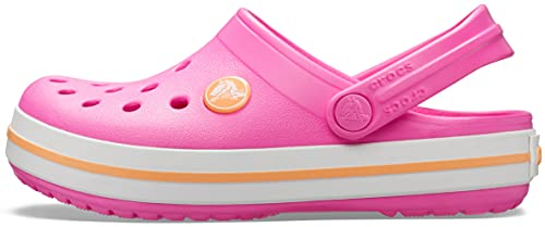 Crocs Kids' Crocband Clog   Slip On Shoes for Boys and Girls   Water Shoes, Electric Pink/Cantaloupe, J4 US Big Kid