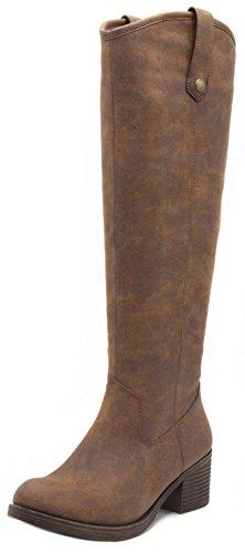 Damen Reitstiefel mit Absatz Kniehohe Stiefel mit hohem Schaft, Braun (dunkelbraun), 39.5 EU