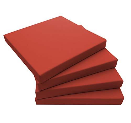ECOPELLE Rosso Cuscino da Giardino per Esterni mis.40x40 sp. 5 cm Set di pz.4 Universale per Poltrona,Salotto,SALOTTINO,Divano,DIVANETTO Rattan/MIDOLLINO Tessuto IDROREPELLENTE -Made in Italy-