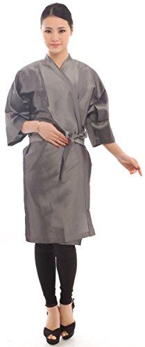 Bata de peluquería para cliente estilo kimono, Capa para peluquería - 109cm de largo (Gris)