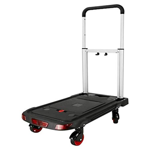 gujiu Household Portable Trolley With Brake Warehouse Hand Trucks Aluminum Alloy Rubber Wheel Lever Adjustable Height Folding Trolley (Color : Black, Size : 62 * 37 * 64-90cm)