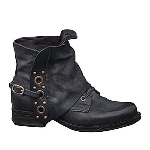 Tomwell Damen Schuhe Stiefeletten Retro Leder Stiefel Blockabsatz Stiefeletten Frauen Biker Classic Bequeme Schuhe mit Rutschfester Sohle Herbst Winter Casual Boots (B Schwarz, 43)