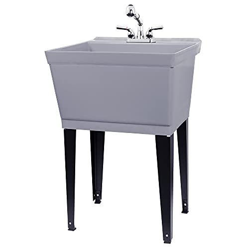 Grey Utility Sink Laundry Tub With Pull Out Chrome Faucet,...