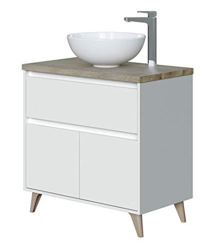 Miroytengo Mueble baño Color Blanco Brillo y Roble Alaska 1 cajón 2 Puertas Moderno 81x46 cm con LAVAMANOS CERÁMICO