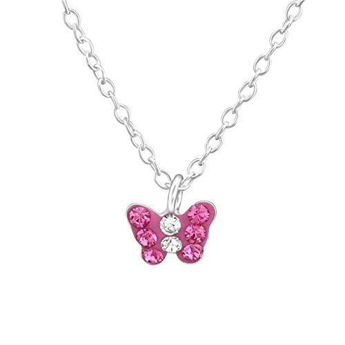 Monkimau - Collana da bambina con ciondolo a forma di farfalla, in vero argento Sterling 925, con 8 cristalli Swarovski rosa e catenina da 39 cm e Argento, colore: rosa., cod. 8457