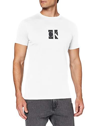 Calvin Klein Small Center CK Box tee Camisa, Bright White, XL para Hombre