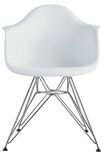 2xhome Eiffel Contemporary Molded Modern Dining Arm Chair With Metal Wire Legs, White,1 piece