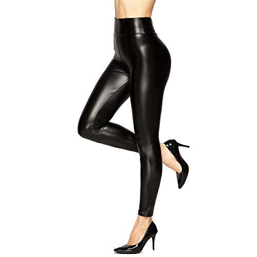 U-chen Damen PU Skinny Leggings Hüfthose Schwarz S