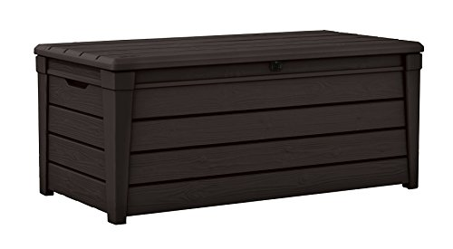 commercial Keter Brightwood 120 gallon outdoor resin garden terrace furniture storage deck box keter 150 gallon deck box