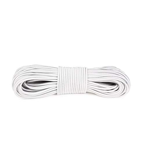 Atwood Rope MFG Shock Cord Bungee Cord - 5/32 Inch - Without Hooks - 25, 50, 100 Feet (White, 100)