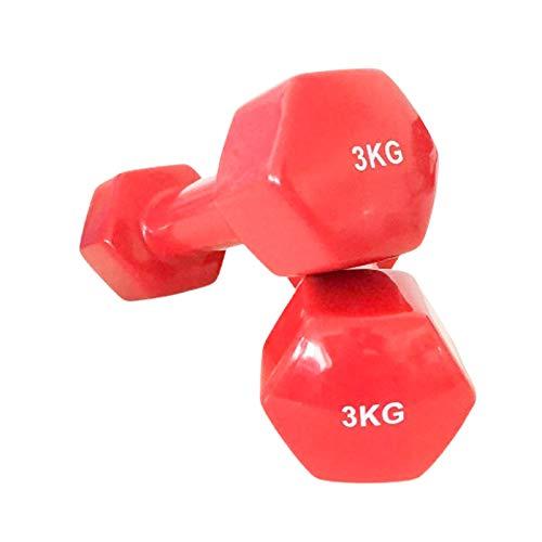 KOTTAO Mancuernas de Neopreno (3 kg, Rojo) | Mancuernas hexagonales de Goma para Pilates | Pesas Antideslizantes para Gimnasio en casa | Deporte en casa con Pesas