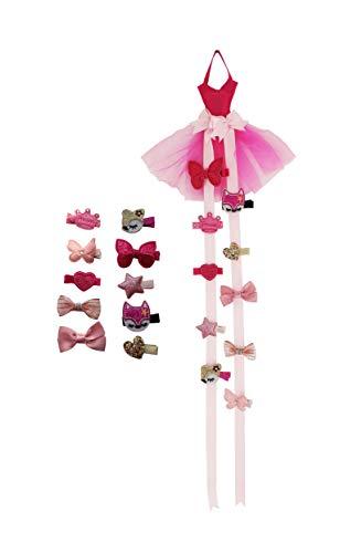 Pink Wedding Dress Hair Clip Holder, Hair Bow Organizer Headband Storage Organizer Home Wall Hanging Decor for Girls Children Women Party & 10 Pcs Hair Accessories.