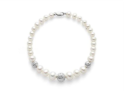 Bracciale Miluna in oro bianco 18kt con Perle e 3 sfere diamantate PBR836B