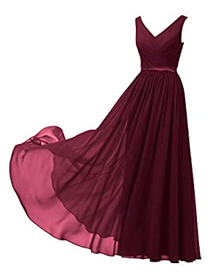 Alicepub V-Neck Burgundy Bridesmaid Dress Chiffon Long Maxi Formal Dress for Women Party Evening Sleeveless, US14