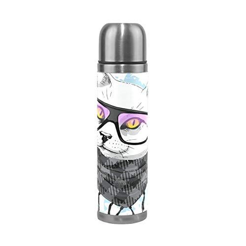 Thermos ThermoCafé Botella térmica aislada, Gato con gafas bufanda,Frasco de Vacío de Acero Inoxidable 500 ml