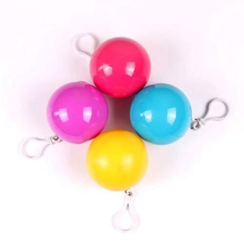 GNNHY wegwerp draagbare plastic regenjas bal, (4 Pack) volwassen kinderen reizen regenjas, ABS milieuvriendelijk materiaal, bolvormige verpakking gemakkelijk te dragen