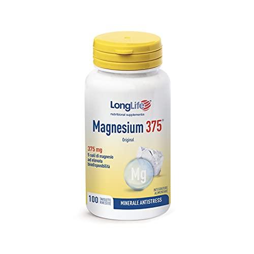 Magnesium 375® LongLife | Integratore 5 Sali di Magnesio ad alta biodisponibilità | NO biossido di Titanio | 100 tavolette | Doping Free, Gluten Free e Vegan