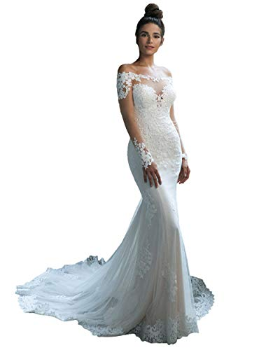 Miao Duo White Mermaid Wedding Dresses for Bride 2020 Off Shoulder Lace Bridal Wedding Gowns with Sleeves White 12