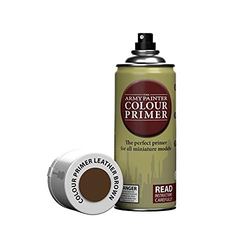 The Army Painter   Colour Primer   Leather Brown   400 mL   Espray Acrílico   Base para Pintura de Modelos Miniatura   Cuero Marrón