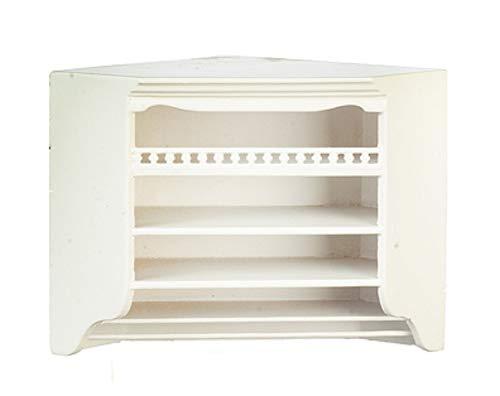 Melody Jane Dolls House White Corner Wall Unit Cabinet JBM Miniature Kitchen Furniture