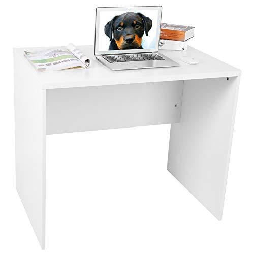Escritorio para ordenador, escritorio de madera para ordenador portátil, color blanco brillante, mesa auxiliar de escritorio, escritorio grande, escritorio, oficina, hogar, mesa de