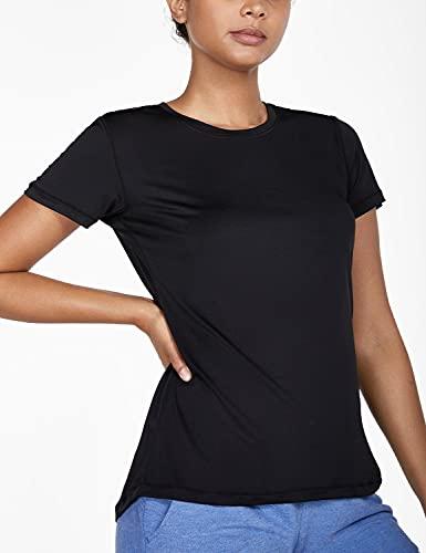 BALEAF Women's Athletic Shirt Workout Top Running Yoga Lightweight Quick Dry Short-Sleeved Crewneck Tee Black S