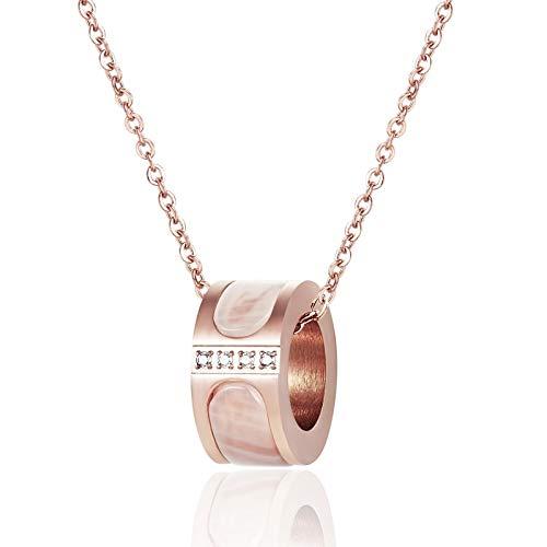 collar Collar Con Colgante De Concha Blanca Para Mujer, Collar De Oro Rosa De Acero De Titanio De Alta Calidad, Regalo