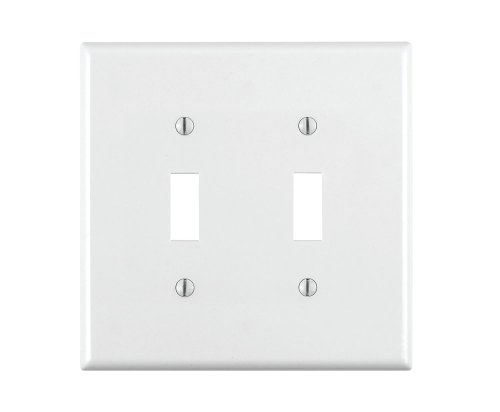Leviton 80709-W 2-Toggle Standard Size Wall Plate, 2 Gang, 4.5 in L X 4.56 in W 0.22 in T, Smooth, 1-Pack, White