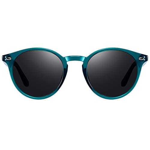 H HELMUT JUST Gafas De Sol Redondas para Mujer Hombre Polarizadas Vintage Unisex TR90 y Acetato