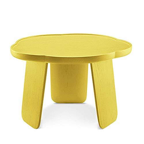 Mesa de cama, Tische Romantische dekorative Sohntisch, Blütenblattform, Massivholz Wohnzimmer Beistelltisch, Hoch / Low End Tisch Couchtisch Farbe: Indigo High Table ( Color : Goose Yellow Low Table )